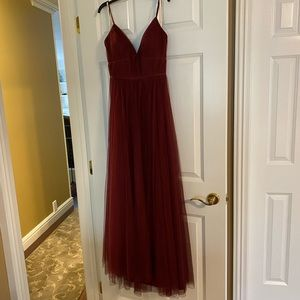 Tulle Jenny Yoo burgundy gown, ONLY WORN ONCE